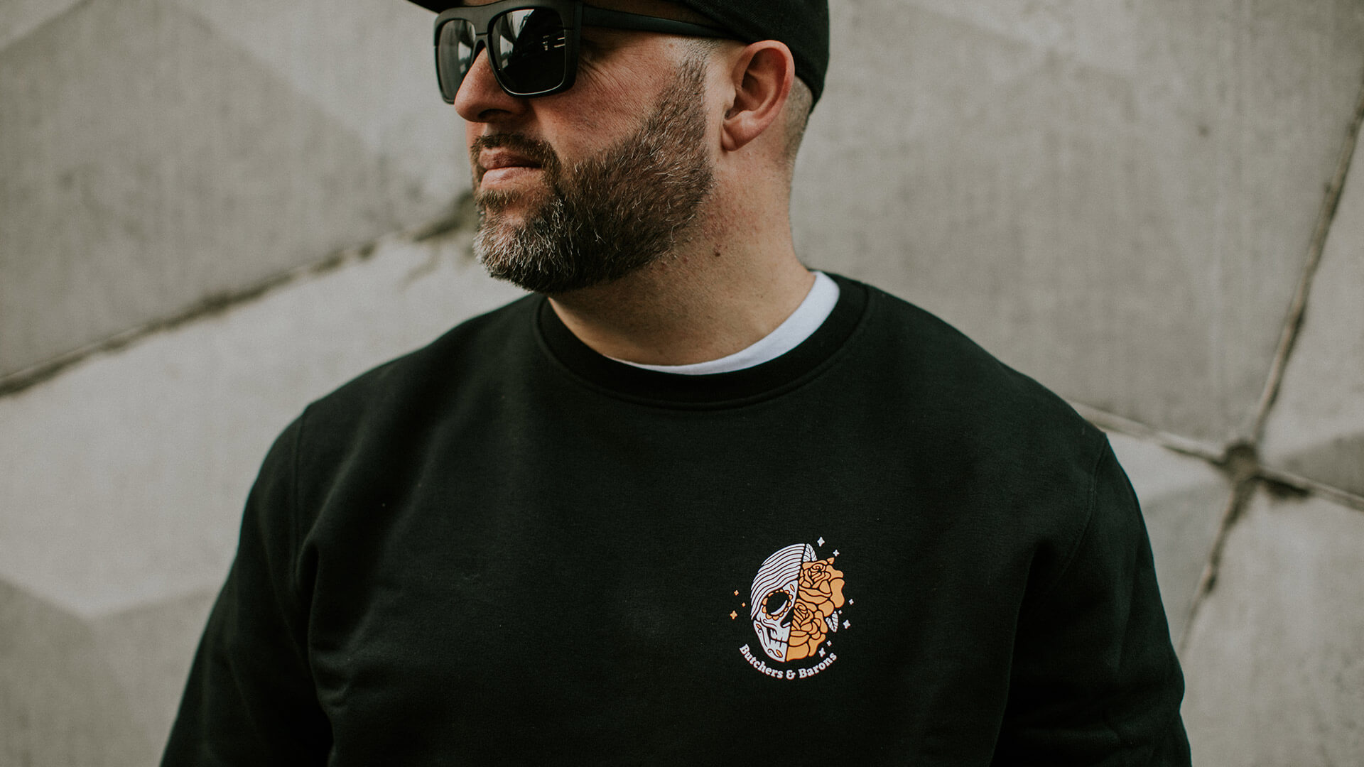 Flower + Skull black sweater by Butchers & Barons