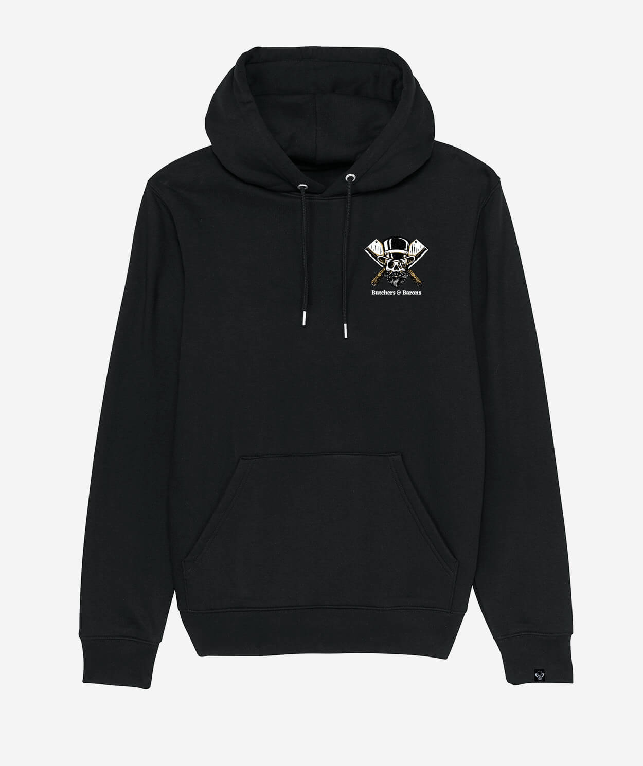 Loyalty black hoodie by Butchers & Barons with skull, beard and monocle.