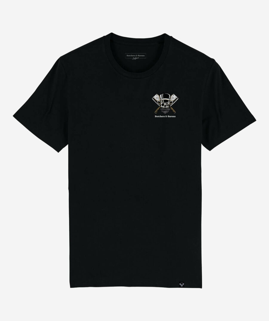 Loyalty black t-shirt by Butchers & Barons with skull, beard and monocle.