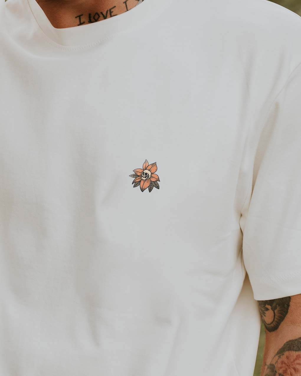 Bloom t-shirt by Butchers & Barons - illustration skull and flower